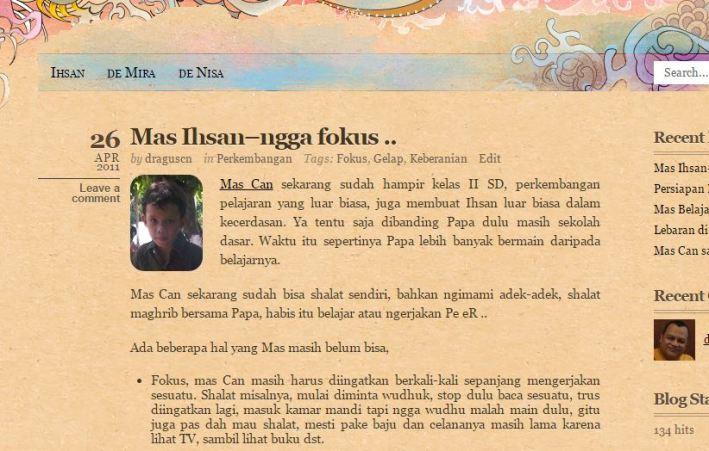 Blognya Ihsan, anak pertama