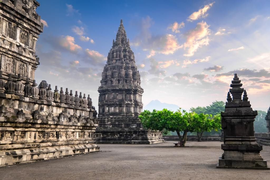 Amazing Prambanan Temple against sunrise sky. Indonesia